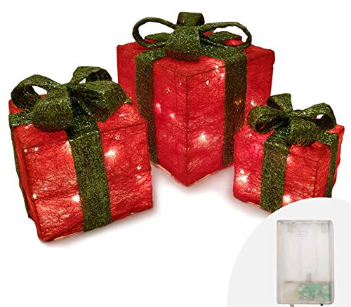 Pacchi Natale Luminosi.Ansio Pacco Regalo Luminoso Set 3 Pacchi Regalo Luci Confezione Regalo Glitterata Regali Di Natale Luci Natalizie Pacchetti Rossi Con Fiocco