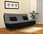 adorn india aspen three seater sofa cum bed (medium grey & bl
