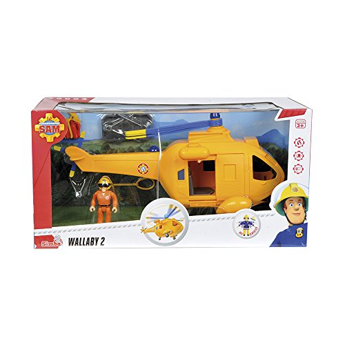 Feuerwehrmann Sam-Hubschrauber Wallaby mit Figur, 34cm (Simba 9251002)