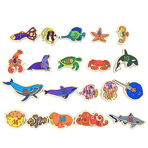 Hilai Kühlschrank Aufkleber Magnetic Meerestiere Fische für Educational Fun Kühlschrank Fisch für Kleinkinder Magnete Kühlschrank Educating Kinder magnetische Aufkleber (mit Magnet)