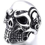 MunkiMix Stainless Steel Rings Silver Black Skull Bone Gothic Vintage Biker Men