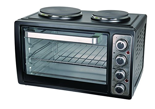 Team Kalorik Kleinküche mit Multiofen und 2 Kochplatten (0-230°C), 28 l Innenraumvolumen, 3100 W, Schwarz, TKG MK 1002