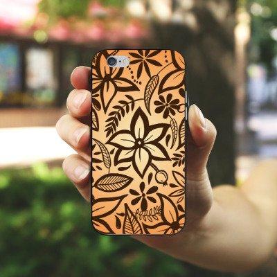 Apple iPhone X Silikon Hülle Case Schutzhülle Retro Blumen Muster Silikon Case schwarz / weiß