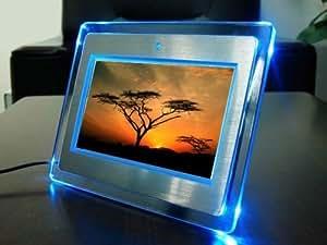 """17,78cm (7"""" Zoll) Digitaler Bilderrahmen SILBER mit blauen LED-Leuchten - JETZT NEU: DIGITAL PANEL UND 800X480 HÖHERE AUFLÖSUNG FÜR BRILLANTE BILDQUALITÄT!!! Bilder-Videos-Musik in einem!!!"""