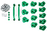 #2: Powerfly Kids Rock Wall Climbing Holds - Set of 2 Safety Handles & 12 Screw On Green Climbing Jugs - Swing Playset Playground Equipment Accessories - Indoor or Outdoor Use - Mounting Hardware Included