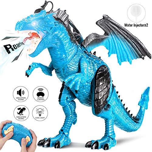 bedienung Dinosaurier Spielzeug mit Gehen, Simuliertem Brüllen, Sprühen, Kopfschütteln, Blue ()