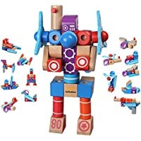 infinitoo Building Blocks, Construction Toys Educational Wooden Building Blocks for Toddlers & Kids Aged over 3 Years, DIY Set Assembly Wooden Transformers, Robots, Boats, Airplanes, Building Tiles Blocks for Creativity and Inspire with Guide Booklet for Holiday and Birthday Gift from Kids