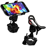 Cable World® Bike Bicycle Motorcycle Mobile Cell Phone Holder Mount Bracket Handlebar Bike Mount Holder Stand For Smart Mobile Phones,iPhone 7/6 Plus/5s/5/4S/4, GPS Devices 360 Degrees Rotating