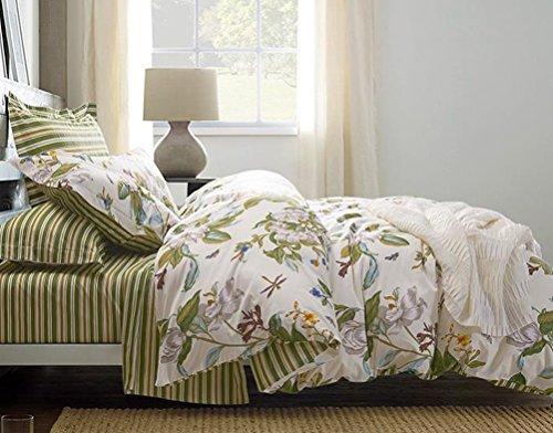 Eikei Cottage Country Style 3-teiliges Bettbezug-Set Rosen Bunte Pfingstrosen Bouquet 100Prozent Baumwolle Shabby Chic wendbar Floral Betten, Baumwolle, cremefarben, Queen - Cottage Standard-quilt