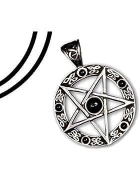 Anhänger umgedrehtes Pentagramm 925er Silber schwarze Steine mit Lederband Schmucksäckchen und Karte - Schutzamulett...