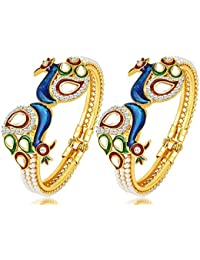 Aabhu Dancing Peacock Pearl Studded Antique Gold Plated Bangle Kada Bracelet Set Jewellery For Women And Girl