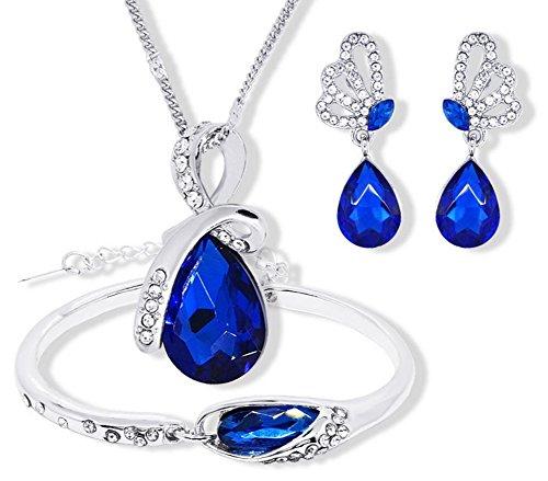 Gespout Collier Bijoux Pour Femme et Fille Alliage Bleu Soirée de Mariage Saint-Valentin Fête des Mères Cadeaux d'anniversaire Bracelets et Boucles d'oreilles