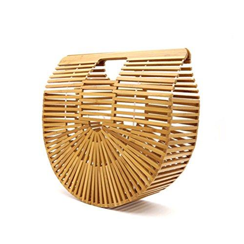 Gorgebuy Bolso trenzado de bambú de la playa al aire libre Bolso de bambú hecho a mano para mujeres Bolso de mano de bambú Bolso trenzado de paja bolso de bambú retro de la playa para las mujeres