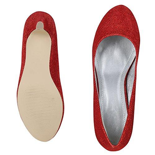 Napoli Moda Classic Donna Pumps Strass Glitter Party Shoes Tacco Medio Scarpe Da Sera Metallizzate Jennika Rosso Rosso