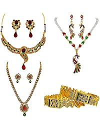 Surat Diamonds Ethnic Red, Green & White Coloured Stone & Gold Plated Necklace Earring Set And Bangles Fashion...