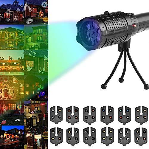 (Weihnachten Projektor Licht, Gaeruite LED Landschaft Projektor Lampe leuchtet mit 12 austauschbaren Objektiv, Scheinwerfer Moving Light Outdoor Indoor für Weihnachten Garten Party Halloween Dekoration)