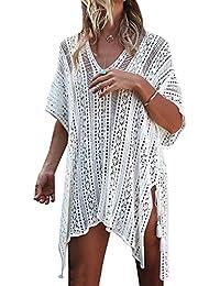 87e6f484e7b Minetom Mujer Camisolas Pareos Bikini Cover Up Boho Ganchillo Verano Hippie  Tunica Vestido De Playa Encaje