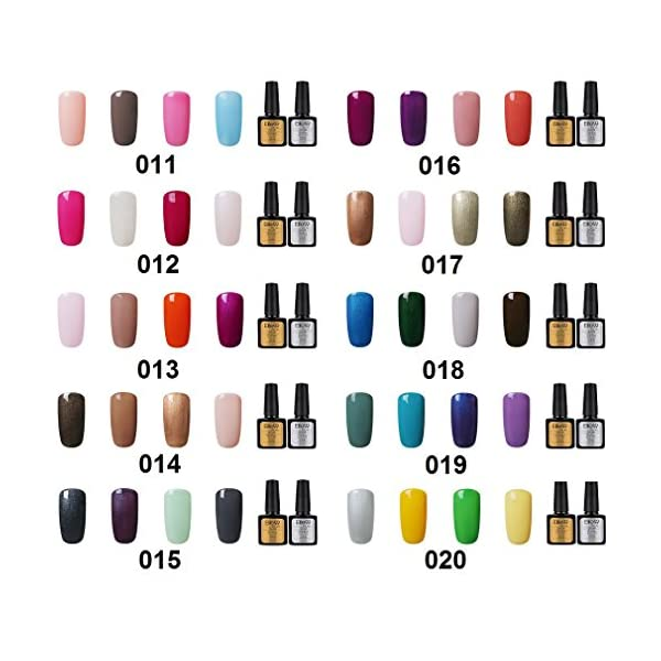 Elite99 Esmalte Semipermanente UV LED 6pcs Kit Uñas de Gel Pintauñas con Base y Top Coat Semipermanente Esmalte de Uñas…