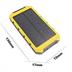 Gizmobitz Power Bank Solar Tough 12000 mAH with 3 IN 1 Cable - Yellow