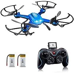 Potensic Dron con Telecámara, F181H WiFi FPV 2.4Ghz Hover Dron, 4 Canales y 6 Ejes Cuadricoptero RTF Videocámara 720P HD Cámara de 2 MegaPixeles Control de Altura y Función de Flips 3D - Azul