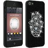 Mocca - Coque Etui Housse Arrière Strass Diamants pour Apple iPhone 5 Symbole de Khamsa, Main de Fatma Couleur Argent - Noir et Argent