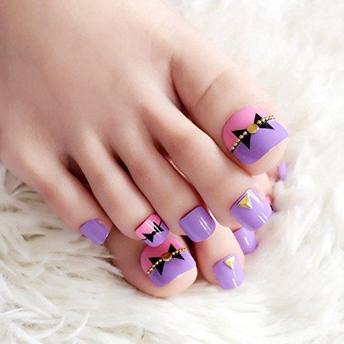 Echiq 24 pièces Violet rose avec les orteils prêts Chaîne Bowknot Décoration Faux ongles pour les doigts de pied Manucure Conseils