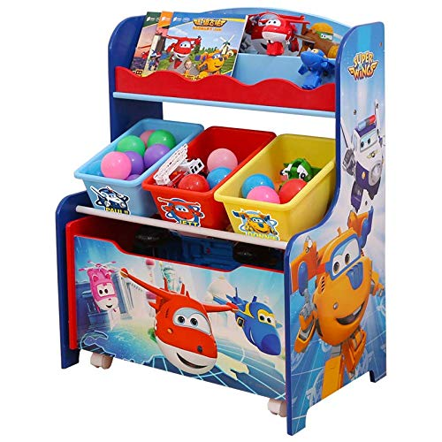 3 in 1 Kinderregal Bücherregal Kinder Spielzeugregal mit Bücherregal, Boxen und Aufbewahrungskisten Holz BTH:64x40x82.5cm -