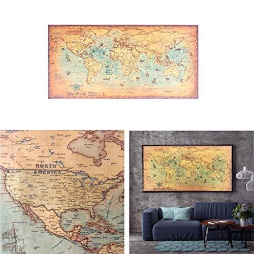 Nautische Ozean Sea Weltkarte Retro Alte Kunst Papier Malerei Wohnkultur Aufkleber Wohnzimmer Poster Cafe Antike Poster 100X51 cm