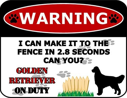 Top Shelf Novelties Warning I Can Make It to The Zence in 2.8 Seconds Can You? SP1550 Hundeschild Golden Retriever On Duty (Silhouette), laminiert, inkl. I Love My Dog-Aufkleber -