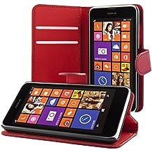 ECENCE Nokia Lumia 630 / 630 Dual SIM / 635 Cartera Funda Cover Flip Wallet Case bolsa Rojo oscuro + Película protectora de pantalla 41020303