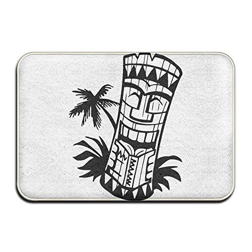 Retro Island Polynesische Tiki Kopf Weich Fußmatte ENTRANCE Mat Fußmatte/Front Tür/Bad-Teppich Matten Gummi rutschfeste, Mikrofaser Gummi, weiß, Einheitsgröße