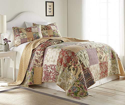 chezmoi Kollektion Delaney 3-teilig Blumen Patchwork Vintage Gewaschen 100% Baumwolle Quilt Set Twin Multi -