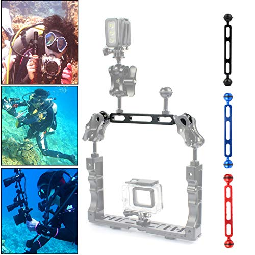 bloatboy Aluminiumlegierung Doppelkugelkopf Arm für Unterwasser-Taschenlampe Video Licht 7,87 Zoll 20 cm Halterung, Geeignet für Sportkamera Fotografie Tauchhalterung (rot) (Halter Halterung Duschkopf)