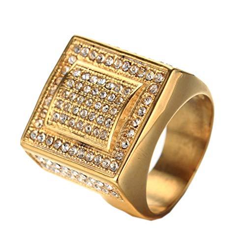 OAKKY Herren Edelstahl Vogue Europa und Amerika Style Hip-Hop Square Diamond Ring Golden Größe 60 (19.1)