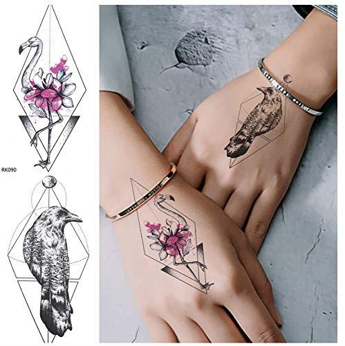 sche Flamingo Lotus Temporäre Tätowierung Aufkleber Mode Gefälschte Tätowierung Vogel Body Art Handgelenk Frau Mann DIY Custom Crow Line ()