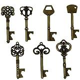 Schlüssel-Flaschenöffner - sortiert Vintage Skelett Schlüssel, Hochzeit Partyzubehör (70 Stück, bronze)