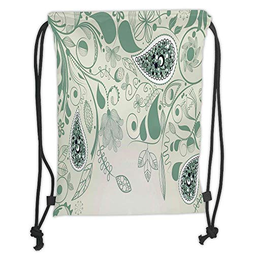 Laurel Iced (Juzijiang Drawstring Sack Backpacks Bags,Paisley,Vintage Floral Paisley Patterns on Retro Art Persian Style Home Decor Decorative,Laurel Green Soft Satin Closur,5 Liter Capacity,Adjustable.)