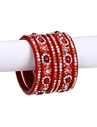 Red Glass Bangle & Kada Party Set Decorative With Beads And Colorful Stones With Safeyt Box (Size 2.4 IN)