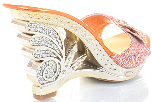 fourever Funky Femme en similicuir métallisé Jeweled open-toe Sandales Talons Rose