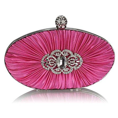 TrendStar Damen Kupplungs Taschen Damen Konstrukteur Abend Abschlussball Partei Satin Kupplungs Taschen Rosa