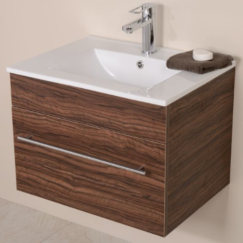 600 Vanity Unit for Bathroom Ensuite Cloakroom - Wall Mounted Soft Closing Modern Walnut Design - Inset Ceramic Basin in White - Wall Hung Deep Fill Storage Drawer with Hand Wash Sink (Dimensions ** Furniture Cabinet - Height: 455mm, Width: 610mm, Projection: 460mm)