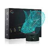 Dinosaurio 3d Lámpara LED óptico Engaños Luz Nocturna, Yunplus 7 Cambio de Color Con Acrílico Flat & ABS Base & USB Cargador de Cambiar Toca Lámpara de Escritorio Lámpara de Mesa