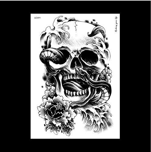 HXMAN Professionelle Große Gefälschte Schädel Schlange Tattoo Label Arm Nach Schalter Lc-811 Weibliche Männliche Körper Kunst Temporäre Ta Zu Kit (2 Pack) AAA-001 - Ton-club-kit