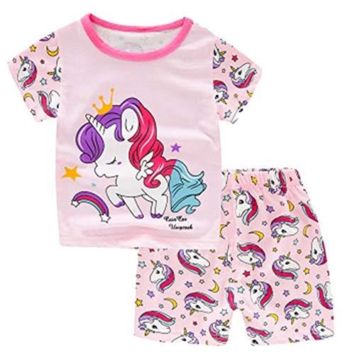 Unicornio Verano De Las Muchachas Pijamas Infantil Niñas Sistemas De La Ropa De Los Niños De Manga Corta De La Ropa De Noche del Bebé 100% Algodón De Los Muchachos del Camisón