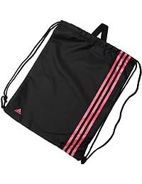 adidas Unisex 3 Stripe Sports Training Gymsack Backpack Bag 50cm x 38cm Black/Pink One Size