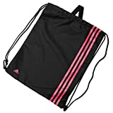 adidas Unisex 3 Stripe Sports Training Gymsack Backpack Bag 50cm x 38cm Black/Pink On...