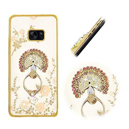 Galaxy S7 Edge Hülle, MingKun Diamant Bling TPU Silikon Handyhülle für Samsung Galaxy S7 Edge Handytasche mit Ständer Blumen Schutz Case Cover - Pfau Gold