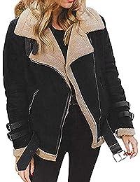 590e4b055084 Chaud Manteau Femme Hiver Outwear Jacket Manche Longue Veste Aviateur  Vintage Cardigan a Revers