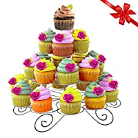 Cupcake Stand - 4 Tier Cupcake Stand with 23 Cake Holder - Rustic Metal Cake Stand with Allen Key and Spanner - For Weddings, Display, Baby Showers and Parties