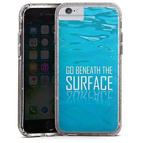 Apple iPhone 7 Bumper Hülle Bumper Case Glitzer Hülle Leben Life Vie Bumper Case Glitzer rose gold